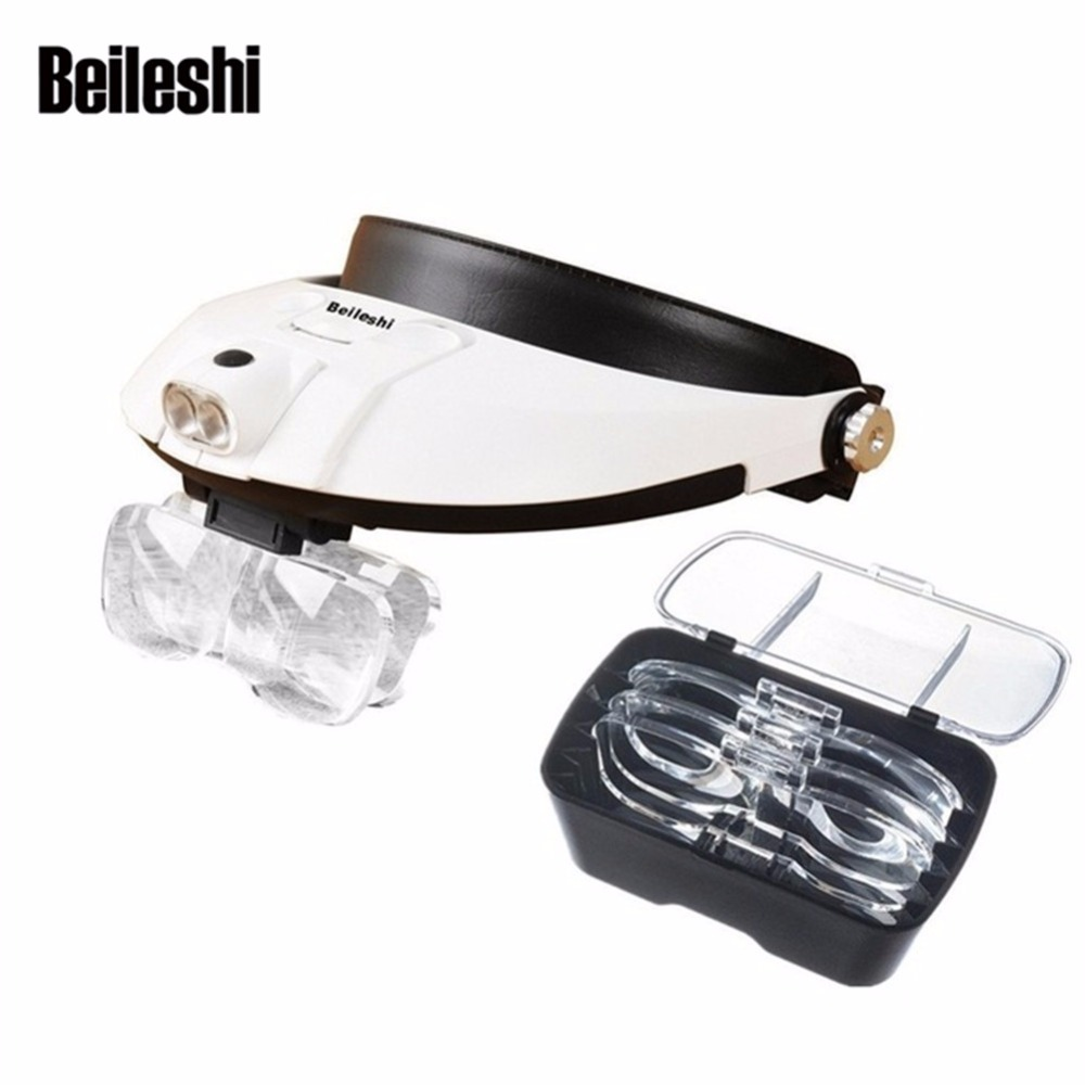 Tercera mano binoculares lupa Dental lupa diadema ajustable 5 lente 2 lectura LED lupa joyero desmontable