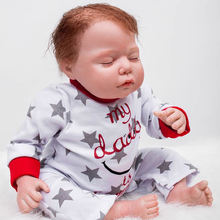 With Rooted Mohair 22 Inch Reborn Baby Dolls Realistic Silicone Babies Newborn Doll Lifelike Cloth Body Boy Kids Birthday Gift