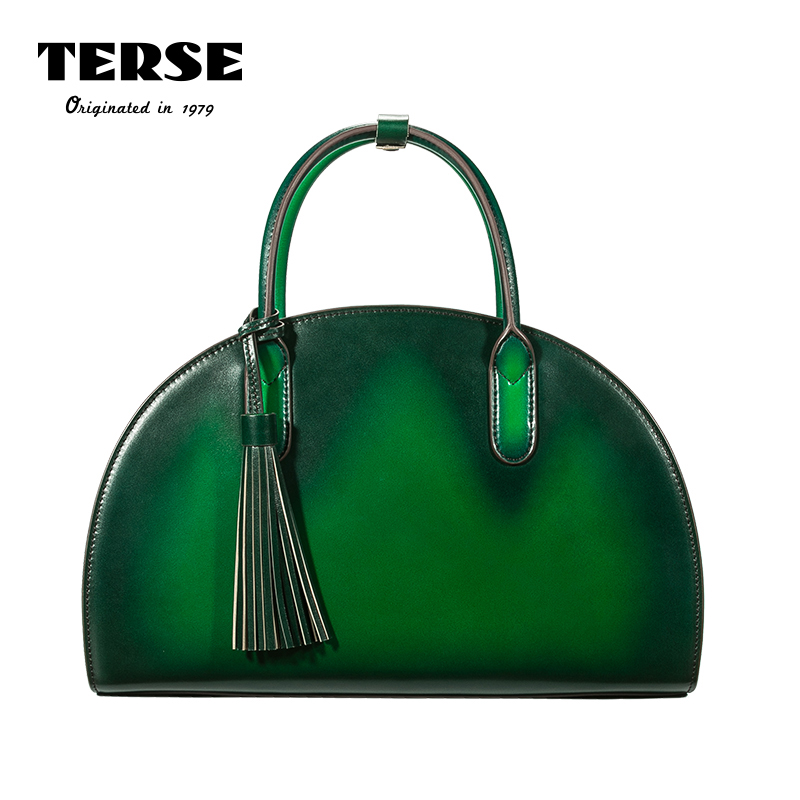 TERSE_2017 Ladies Handbags Handmade Genuine Leather Red/Green Color Women's Pouch Luxury Half Moon Tote Bag Customiz Service 473 qiaobao 100% genuine leather handbags new network of red explosion ladle ladies bag fashion trend ladies bag