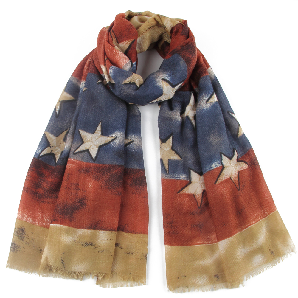 Winfox Vintage Army Green Scarf For Women Female Red USA Flag Star Pattern Scarves Wraps Hijab