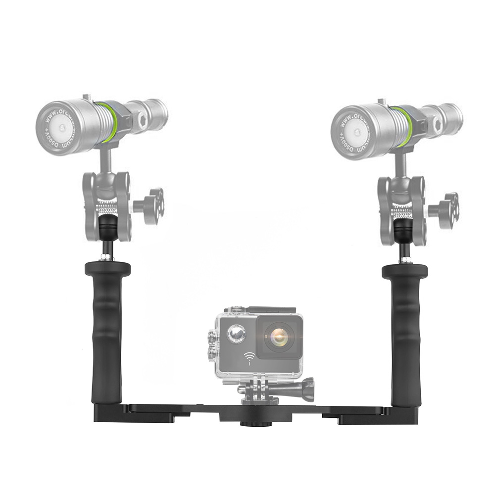 Aluminum Alloy Diving Handle Tray Bracket Dual Handheld Hand Grip Video Stabilizer Portable Balancer Holder with 1//4inch Screw /& Ball Adapter for 6//5//4//3+//3 SJCAM SJ4000//5000//6000 Yi /& Camera