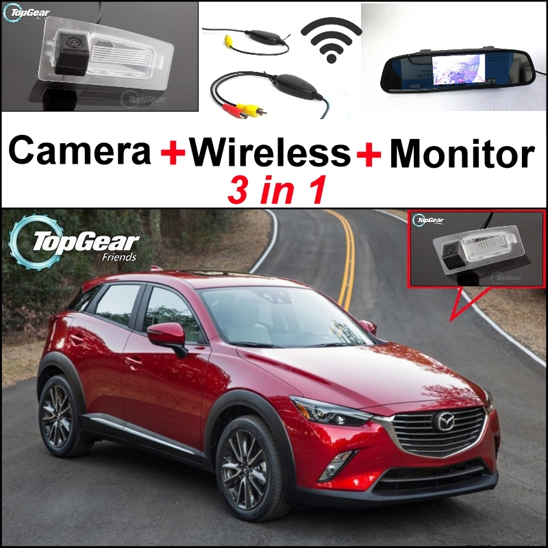 3 in1 Special Rear View Camera + Wireless Receiver + Mirror Monitor DIY Backup Parking System For Mazda CX-3 CX 3 CX3 2014~2015 3 in1 special rear view camera wireless receiver mirror monitor back up parking system for honda jazz 5d 2002 2013
