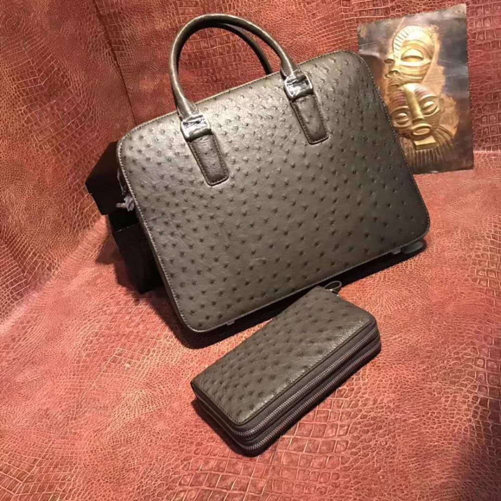 2018 nouvellement 100% Afrique Du Sud véritable autruche en cuir peau hommes d'affaires sac d'ordinateur portable mallette lumière bronw couleur de la peau avec la courroie