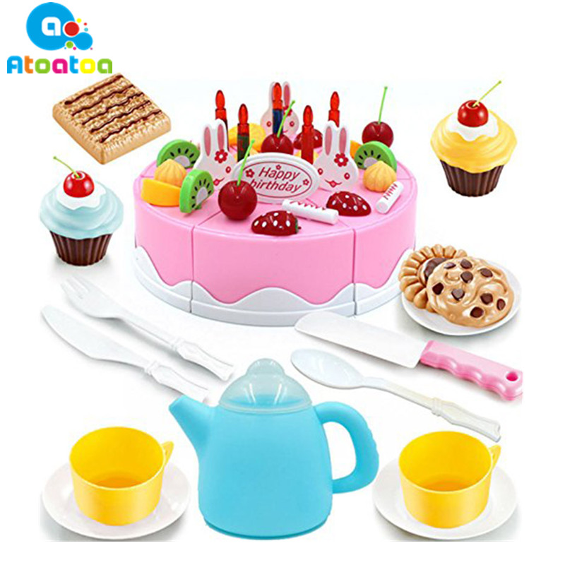 54pcs/set Pretend Play Kitchen Food Toys Plastic Food Cake Ice Cream Cutting Knife Tea Pot and Cups Set Kids Toy Gift
