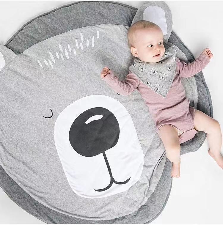 Детский круглый игровой коврик с обезьянкой, коврик для ползания, подушка для ползания, коврик с кондиционированием воздуха для детей, малышей, спальни - Цвет: Bear