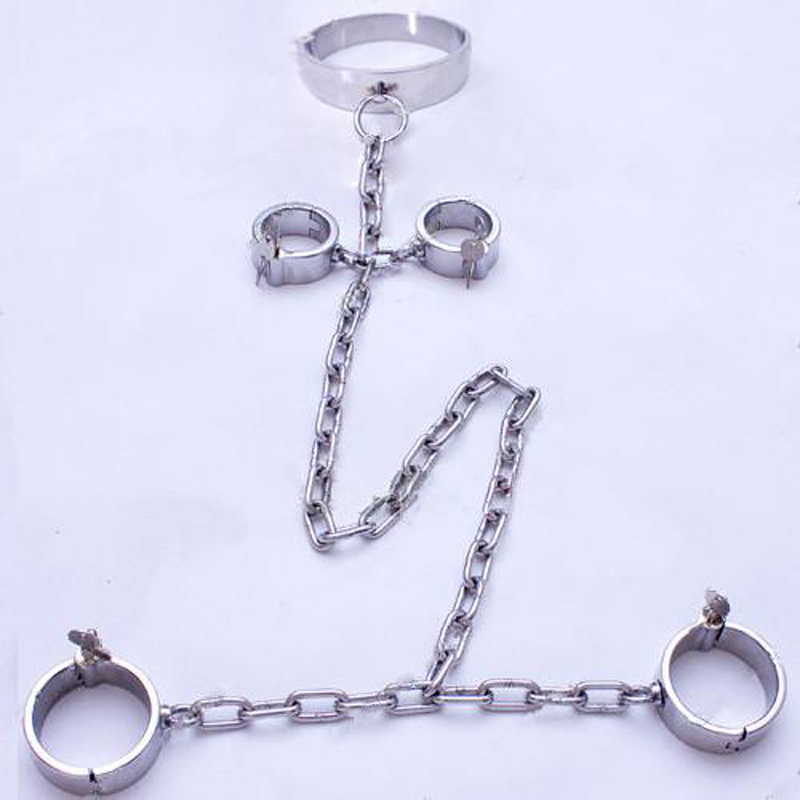 bdsm fetish bondage restraints stainless steel shackles hand ankle cuffs slave collar handcuffs sex products for couples stainless steel wrist cuffs metal restraints bondage slave in adult games for couples fetish sex toys for men and women