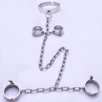 bdsm fetish bondage restraints stainless steel shackles hand ankle cuffs slave collar handcuffs sex products for couples