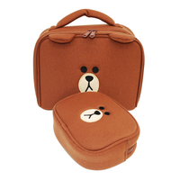 2Pcs Set Cartoon Bear Cosmetic Bag Girl S Mini Pouch Travel Portable Case Multi Functional Storage