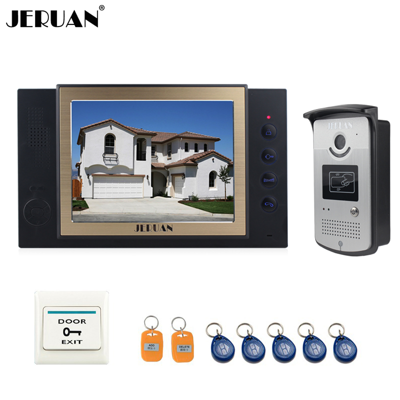 JERUAN 8`` video door phone doorbell intercom system home access control system RFID video recoreding+photo storage+playback