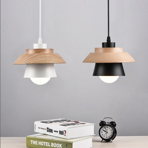 Image 4 - Nordic Decor Pendant Lights Suspension Luminaire, E27 Aluminum Wood Pendant Lamp Modern Light Fixtures Black White