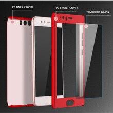P10 плюс случае Huawei p10 полный дело обложка PC задняя крышка Huawei p10 плюс коке капа funda завершить Все Вокруг с закаленным стекла