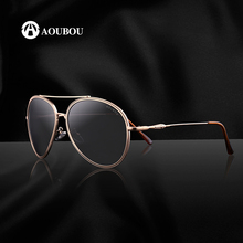 AOUBOU Brand Polarized Sunglasses Women Driving Sun Glasses Retro Oval Gold Frames Black Lens Adult Male Fishing AB7025