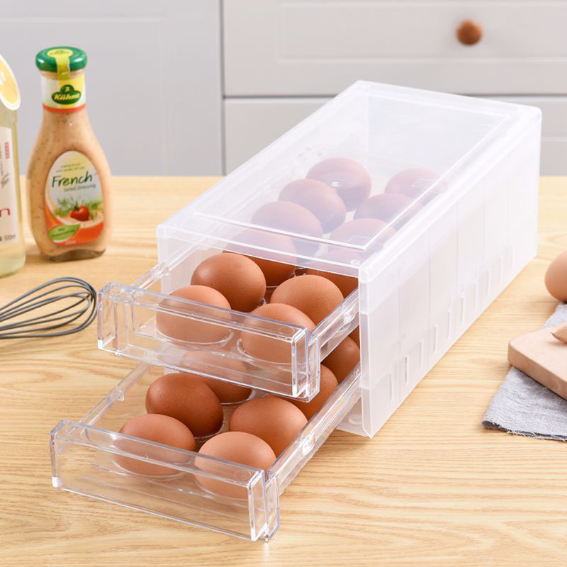 24 Grids Eggs Storage Box Double Layer Transparent Plastic Container Kitchen Boxes Food Grade Storage Containers