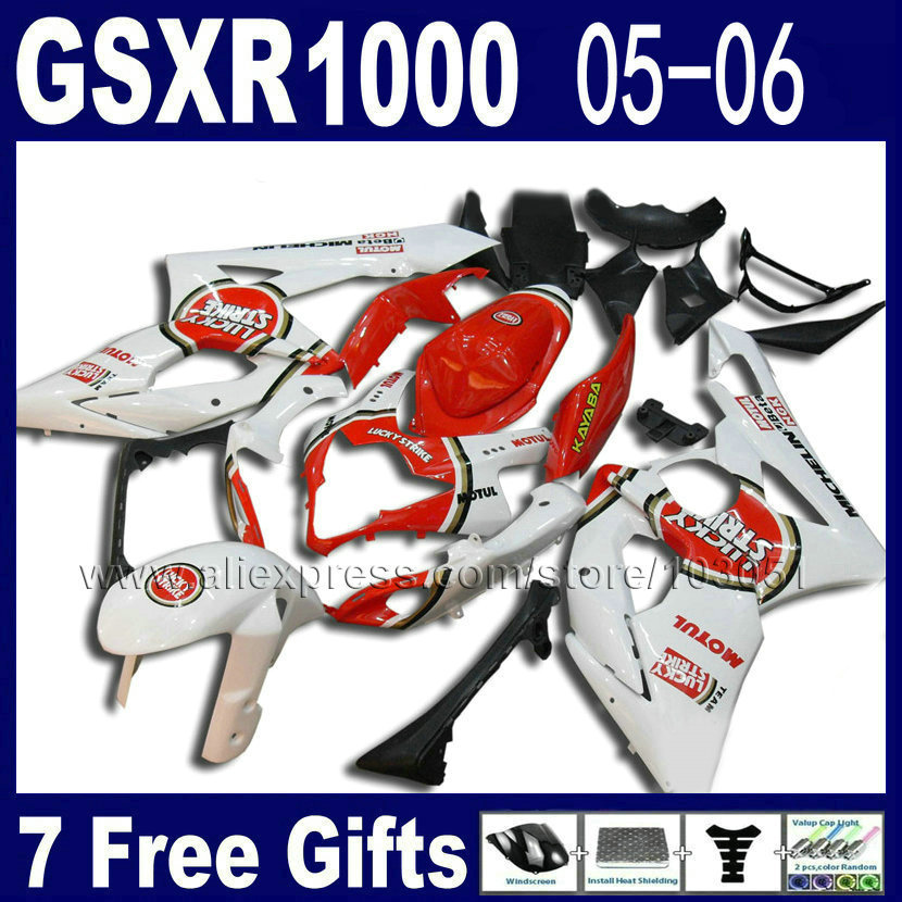 Custom Injection molding road fairing kit for  2005 2006 K5 gsxr 1000 kits 05 06 red lucky strike suzuki motobike fairings custom road fairing kits for suzuki glossy flat black 2006 gsxr 1000 k5 2005 gsx r1000 06 05 motorcycle fairings kit