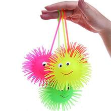 NEW Smile Face Puffer Ball With Flashing Light Throw Squeeze Spiky Massage Funny Toy Children Kids Toy Gifts Light Up Toys(China)