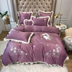 Zestaw pościeli haft łóżko – zestaw broadbrimmed prześcieradło Queen poszwa na kołdrę w rozmiarze king zestaw fioletowy różowy żółty turkusowy niebieski łóżko pościel