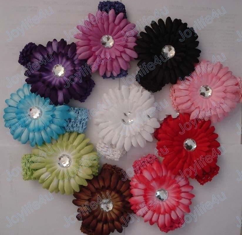 200 шт., 1,5 дюймов, Gerbera, вязаная крючком лента для девочек, 4 дюйма, заколка для волос с ромашками, Цветочная повязка на голову, быстрая