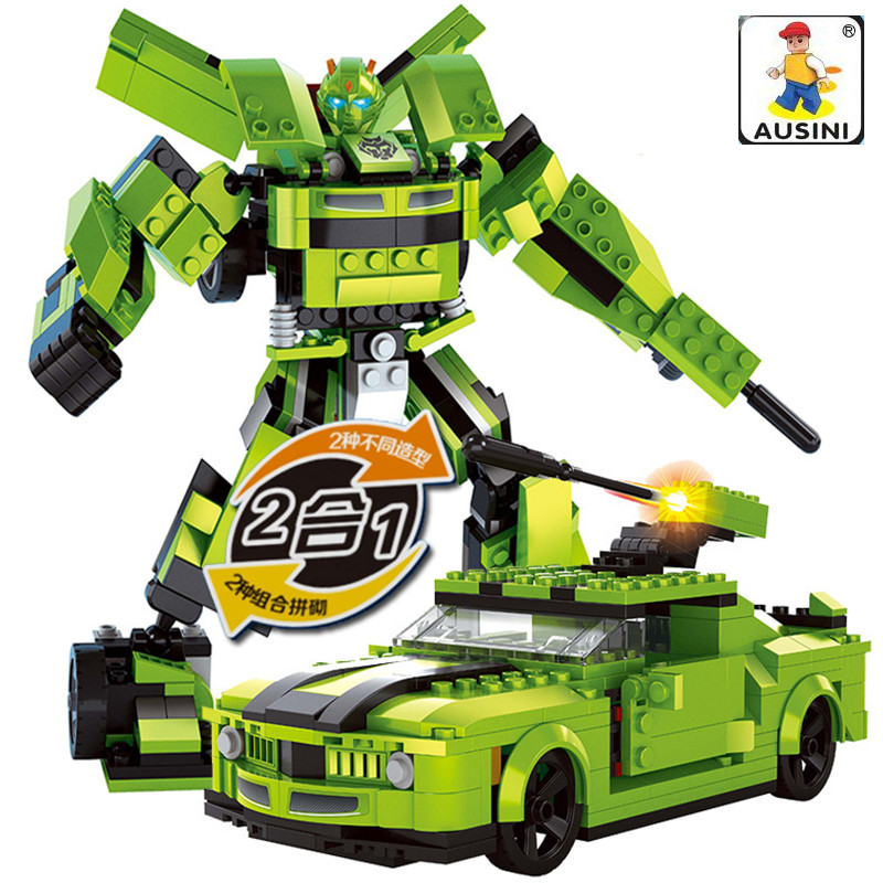 AUSINI 344Pcs Car Robot 2 in 1 3D blocks Educational model building blocks toys for children building bricks 8 in 1 military ship building blocks toys for boys