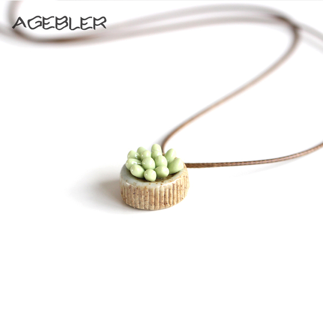 Fashion cactus necklace handmade jewelry ceramic chain necklaces fashion cactus necklace handmade jewelry ceramic chain necklaces pendants for women simple clothes accessories choker mozeypictures Image collections