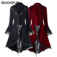 RIUOOPLIE Women Ladies Vintage Tailcoat Punk Gothic Lace Coat Jackets Steampunk Outwear