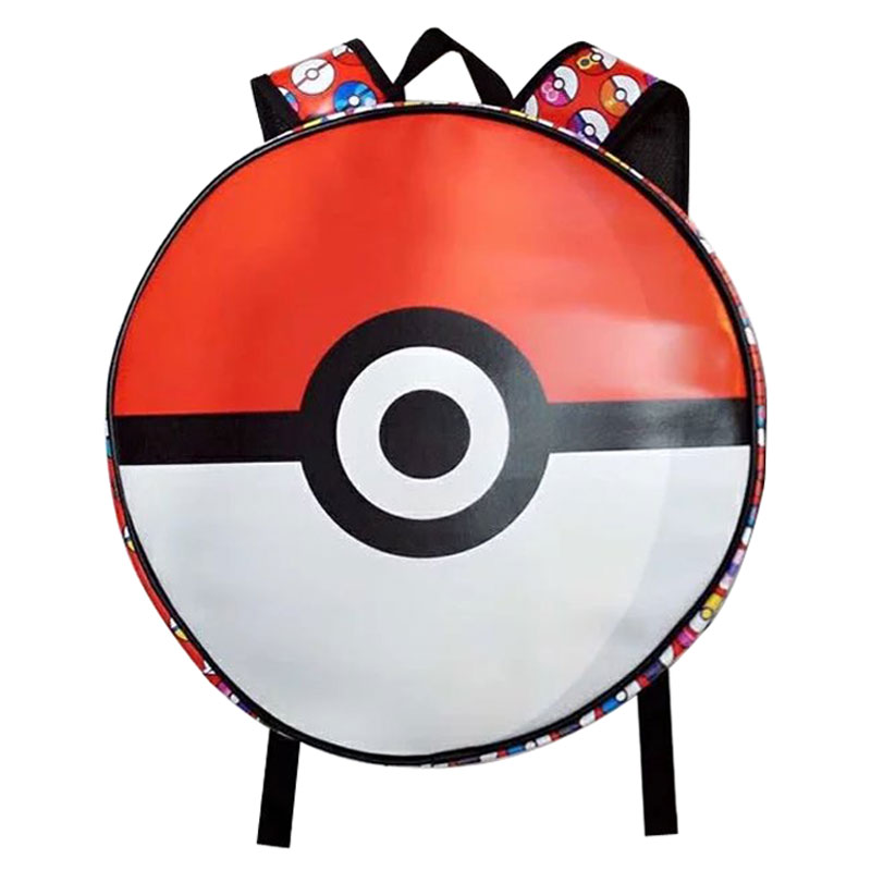 Novelty Round Shape Leather Backpack Anime Cartoon Pokemon Campus School Bags Games Pocket Monster Print Gift Boy Girl Backpacks pokemon go print purse anime cartoon pikachu wallet pocket monster johnny turtle ibrahimovic zero pen pencil bag leather wallets