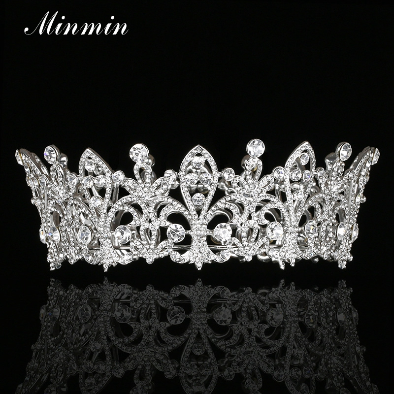 Minmin Classic Full Shiny Crystal Large Queen Tiaras and Crowns Silver Color Bridal Hair Jewelry Wedding Accessories MHG117
