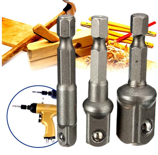 3Pcs 1/4 3/8 1/2 Hex Wrench Sleeve Extension Bar Drive Power Drill Bit Socket Driver Adapter Set 1/4'' 3/8'' 1/2''& 50mm Long 10pcs set hex magnetic nut driver set socket 1 4 shank impact magnetic nut setter driver bit adapter