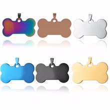 6 Colors Stainless Steel Bone Shape ID Dog Tags Necklace Military Army 316L ID Pendant Jewelry Wholesale Dropship(China)