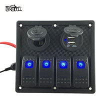 цена на 4 Gang Toggle Rocker Switch Panel Waterproof Dual USB Blue LED Automotive Car Marine Boat
