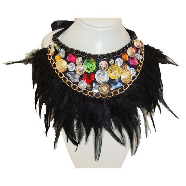 CirGen Handmade Neck Choker Bijoux Black Feather Bead crystal chain Statement Collar Bib Necklace Women Jewelry Item,DY8008