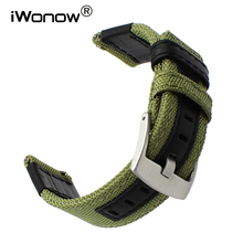 Canvas Nylon + Genuine Leather Watchband 20mm 22mm 24mm for Hamilton Mido Longines Tissot Luminox Quick Release Strap Watch Band