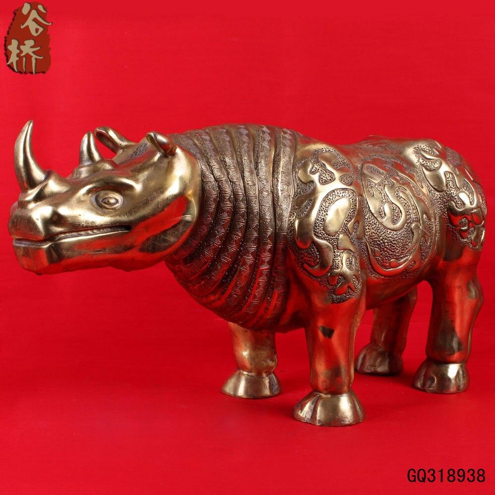 Fortune rhinocéros riche bovins Ruyi transbordement cuivre mascotte décoration