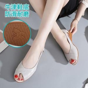 Image 2 - 2020 новые сандалии на танкетке Женская летняя обувь повседневные женские летние сандалии без шнуровки однотонные сандалии на платформе размера плюс 35 43 m833