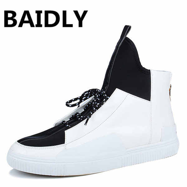 BAIDLY Autumn/Winter High Top Men Sneaker Fashion Casual Shoes Male Leather Shoes Hip Hop Men Boots Footwear Chaussure Homme