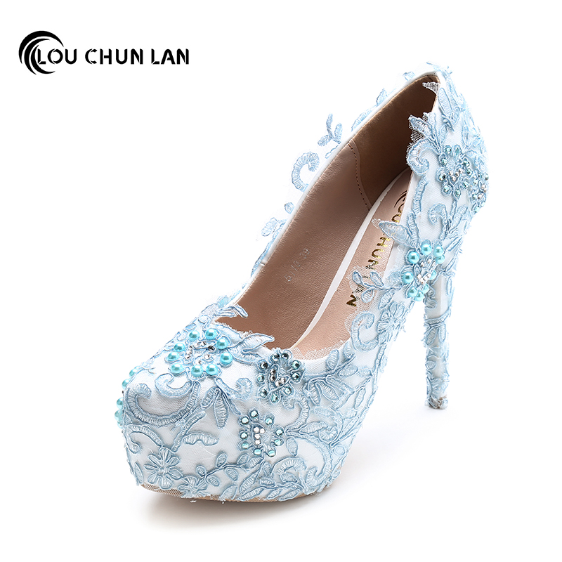Blue Pearl Bridal Shoes Rhinestone Lace Flower Formal