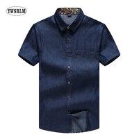 YWSRLM D'été des nouveaux hommes à manches courtes Solide chemise denim coton chemise plus la graisse pour augmenter le code M-7XL