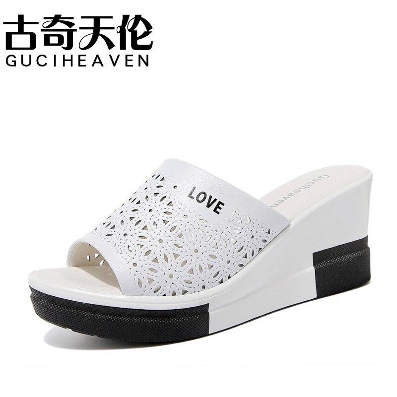 Guciheaven/2018 г. Новая мода Летние тапочки открытый из натуральной кожи обувь для отдыха дышащая/удобные Для женщин обувь Тапочки