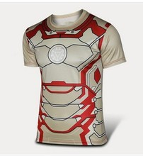 19 styles 2015 Marvel Iron Man America Super Hero lycra compression tights new Tshirt Men short sleeves fitness clothing