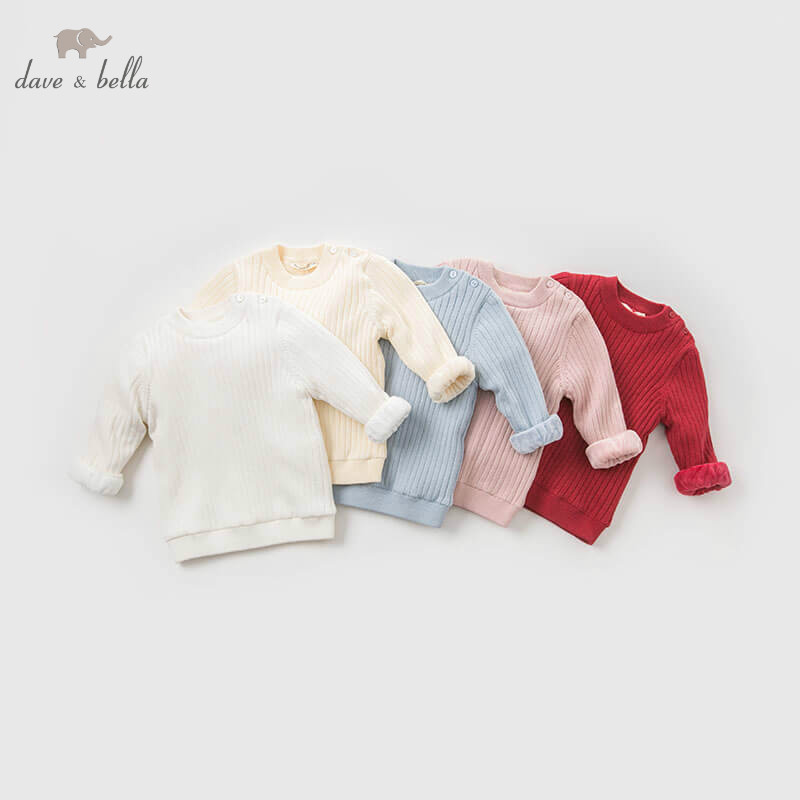 DB9449 dave bella autumn knitted sweater baby girls long sleeve pullover toddler tops children boutique knitted sweater недорго, оригинальная цена