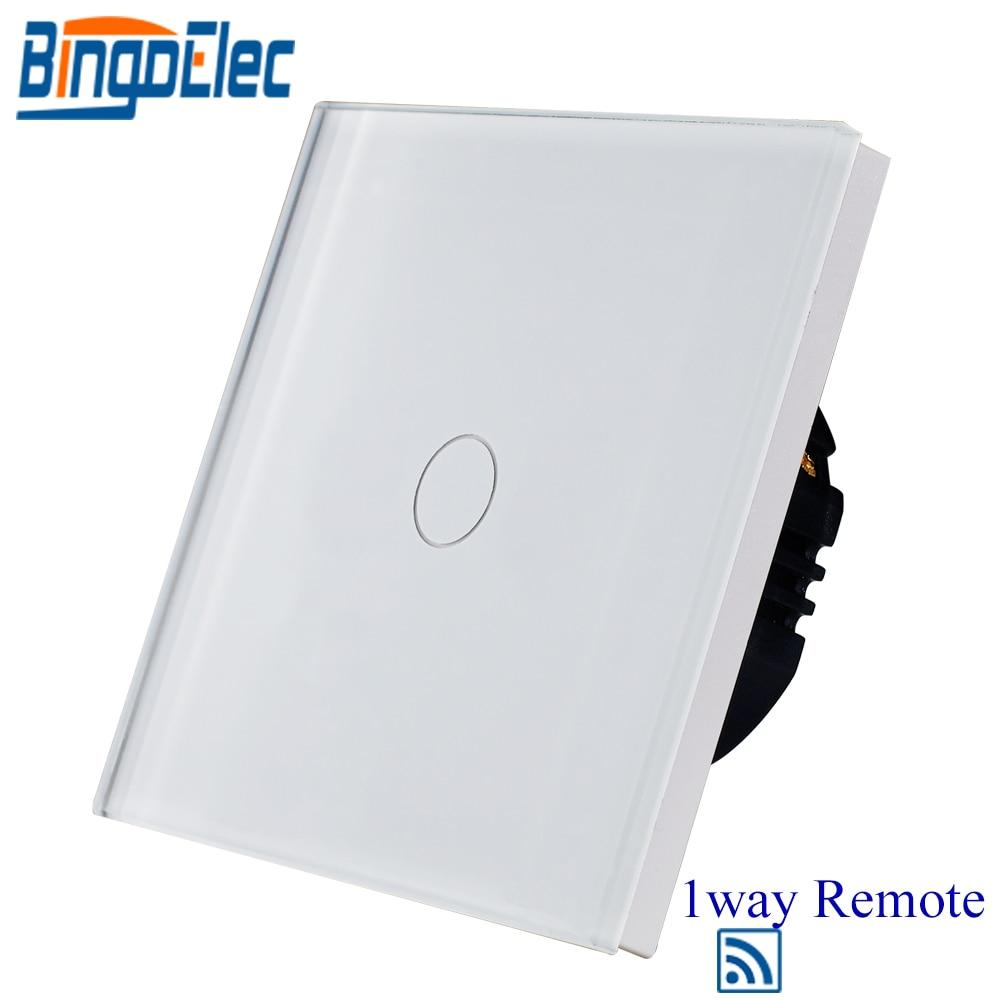 цена на Bingoelec 1 Gang 1 Way Remote Touch Wireless Switch EU Standard 110-250 V Glass Panel Touch Sensor Light Wall Switch