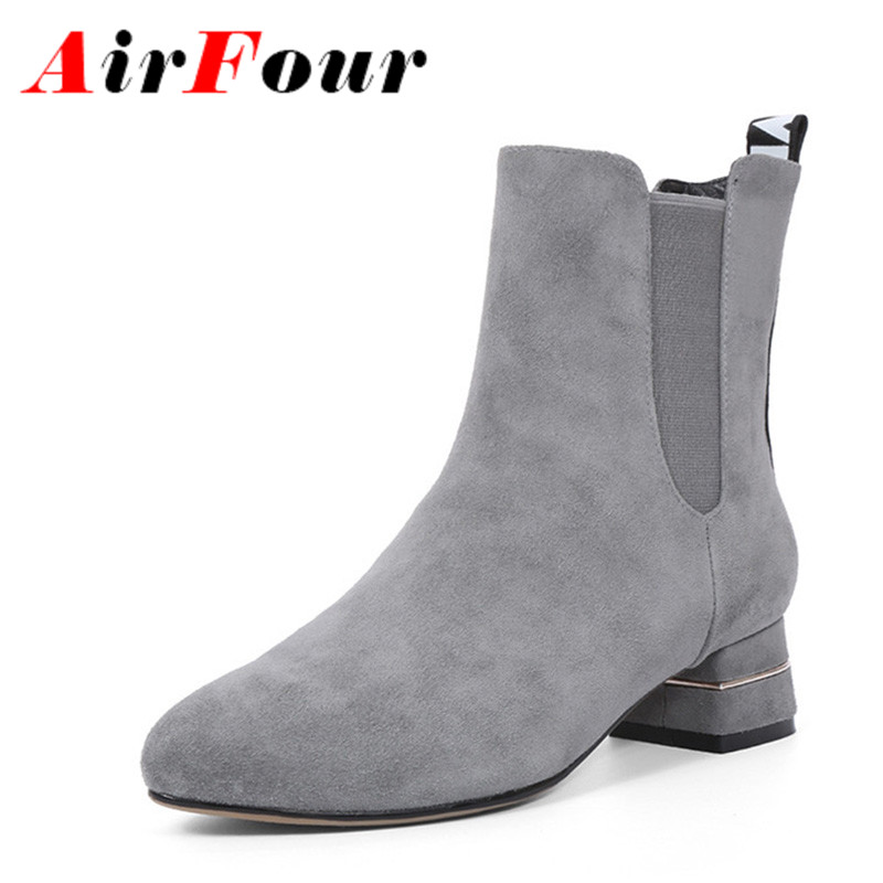 ФОТО Airfour Ankle Boots for Women Spring/Autumn and Winter Boots Platform Woman Big Size 34-43 Round Toe Motorcycle Boots Shoes