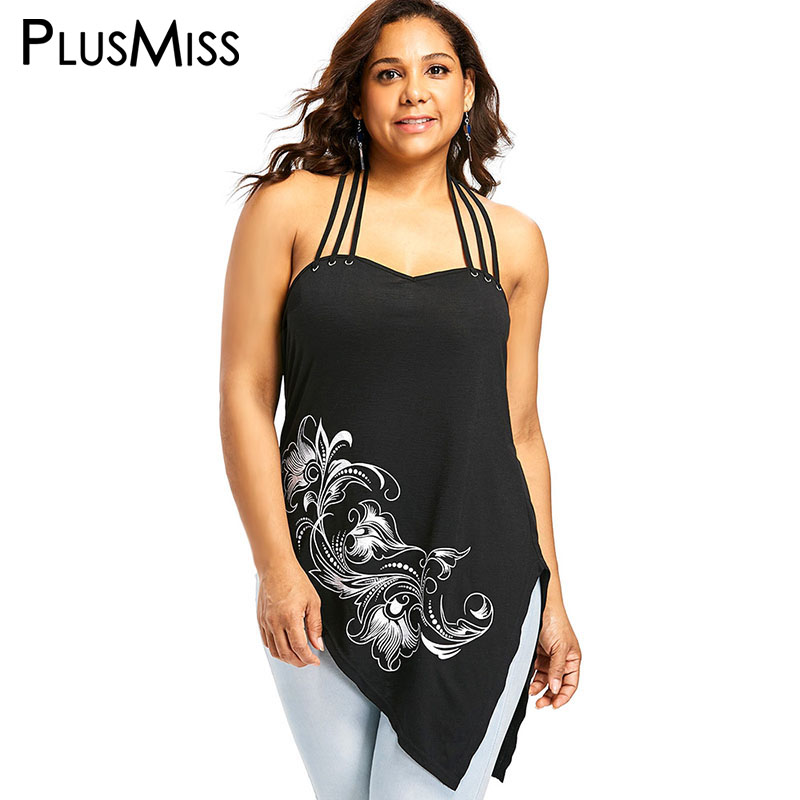 8537e324d2f35 Detail Feedback Questions about PlusMiss Plus Size XXXXL 4XL XXXL Print Sexy  Halter Asymmetrical Long Cami Tops Women Big Size Sleeveless Backless Vest  ...