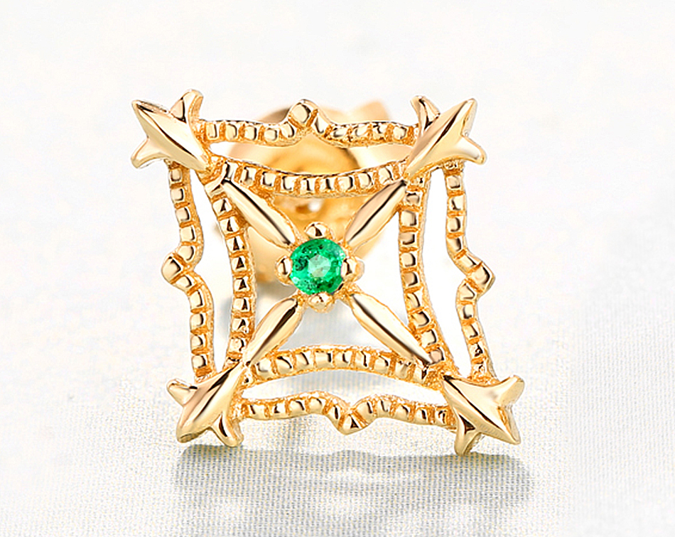 ALLNOEL 925 Sterling Silver Stud Earrings For Women Ethnic Genuine Gemstone Natural Emerald Gold 9k Lacey Earrings Fine Jewelry (4)