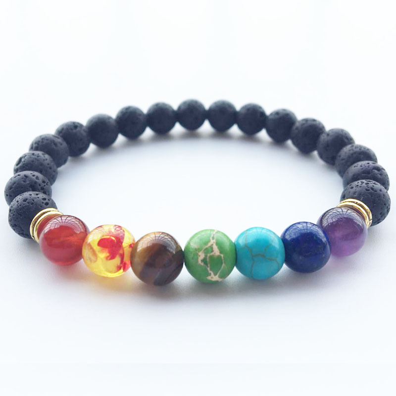 Brand Dragon Rock Volcanic Stone Colorful Crystal Cuff Buddha Bead Bracelet Femme Chain Link Bracelet Women Jewelry Accessories