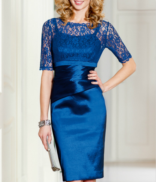 Free Shipping Vestido De Madrinha 2016 New Fashion Robe De Soiree Blue Sleeve Short Party Gown Mother Of The Bride Lace Dresses