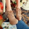 Primavera 2014 new sexy com Estampa de Leopardo botas de tornozelo alta-salto alto Lacing mulheres sapatos de singles das mulheres bombear TAMANHO 34-39 XY316