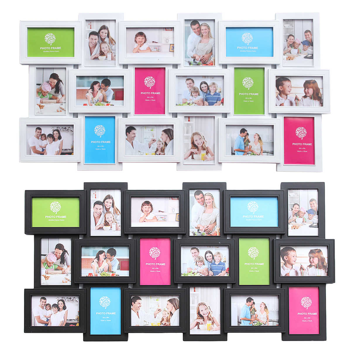 18 Photos Large Multi Picture Frame Collage Aperture Decor Memories Gift Wedding Photos Frame Picture for Room Wall Decals