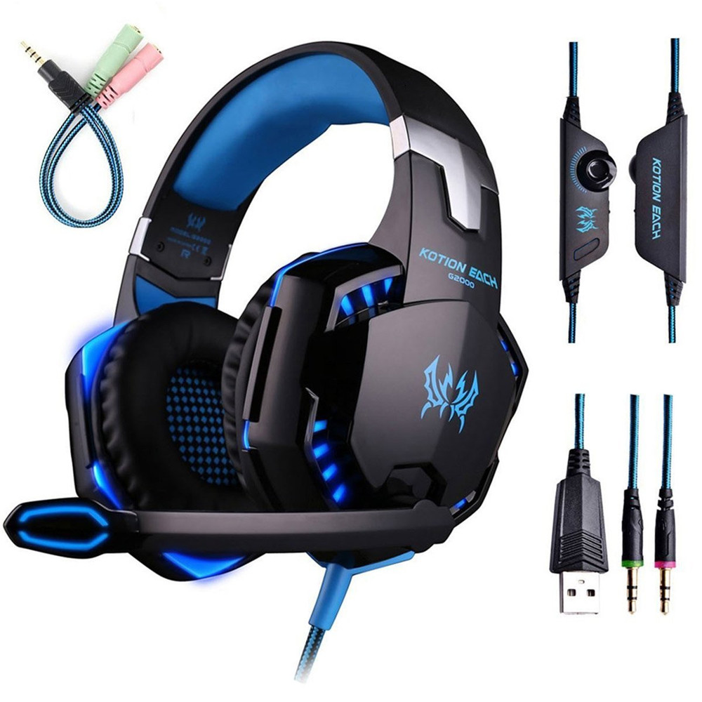 KOTION EACH G2000 Gaming Headset Wired Earphone Gamer Headphone With Microphone LED Noise Canceling Headphones for Computer PC salar t9 best gaming headset wired headband noise canceling headphones with microphone led light vibration for computer pc gamer