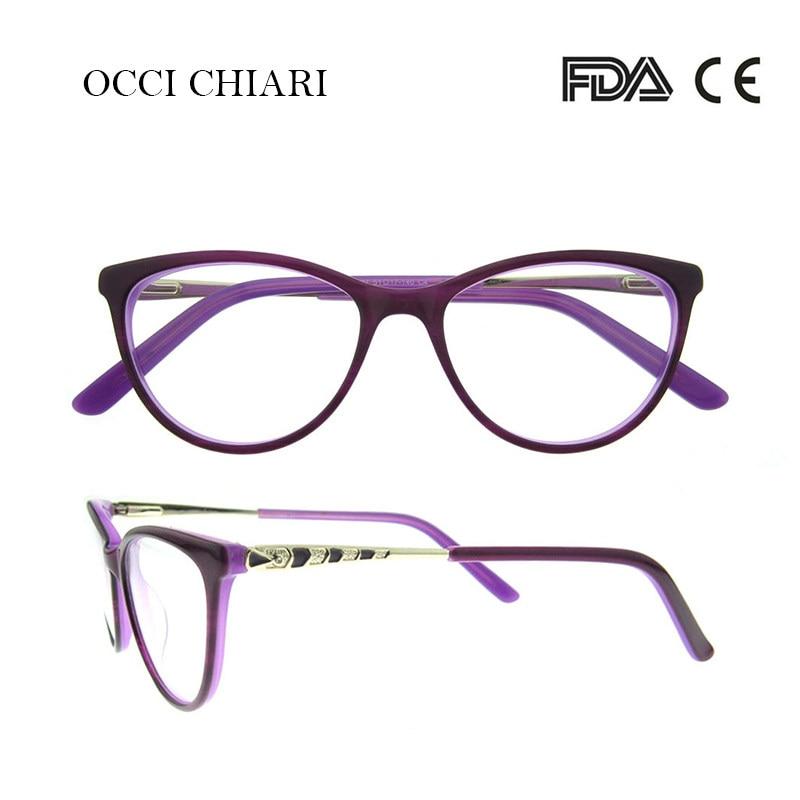 4df9fab8b2 OCCI CHIARI High Quality Fashion Glasses Frame Women Cat Eyes Frames Brand  Designer Eyewear Demi Purple