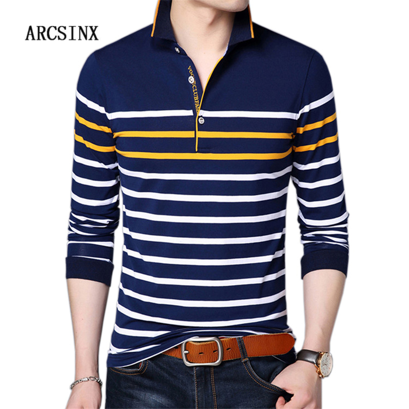 ARCSINX Striped   Polo   Man England Style   Polo   Men Brand High Quality Cotton   Polo   Shirt Men Long Sleeve Shirt Masculina Pole